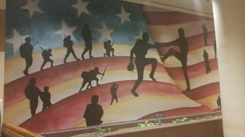 """Benita Dodd photographed this mural, which honors Georgia's citizen soldiers, while visiting the James """"Sloppy"""" Floyd Veterans Memorial Building this week."""